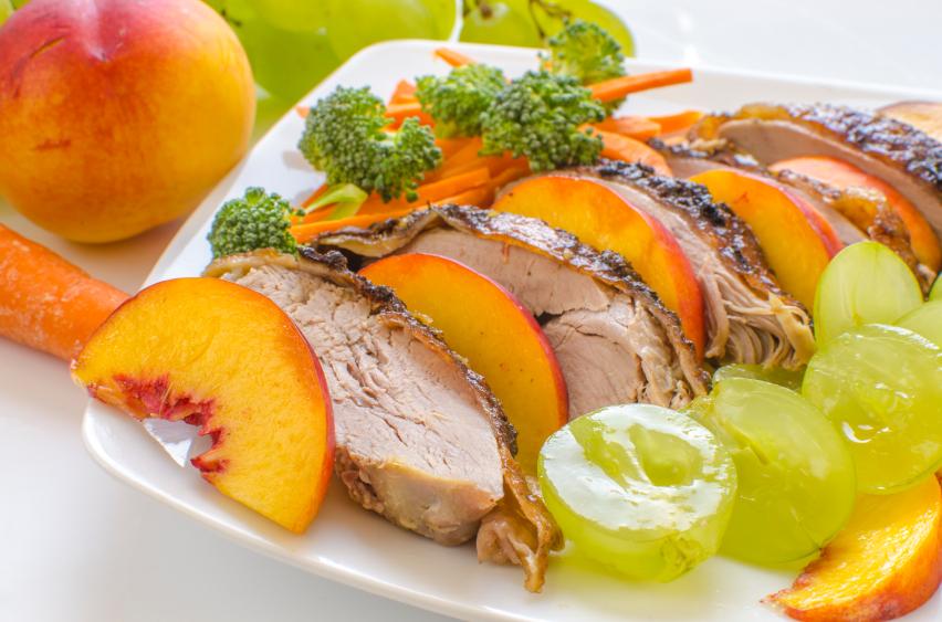 rôti porc nectarines